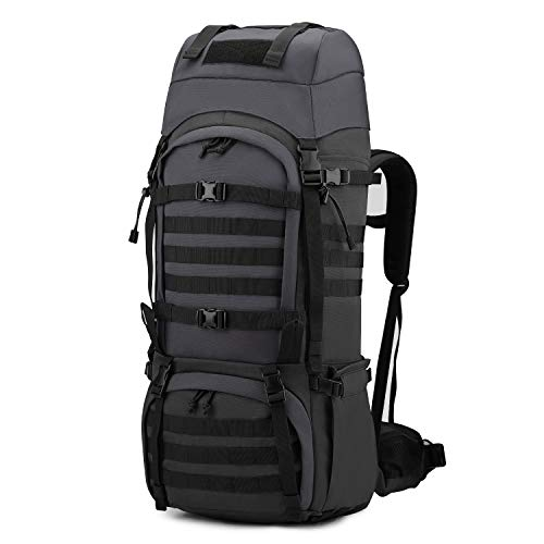 Mardingtop 65L Molle Hiking Internal Frame Backpacks with Rain Cover Black and Gray-65L