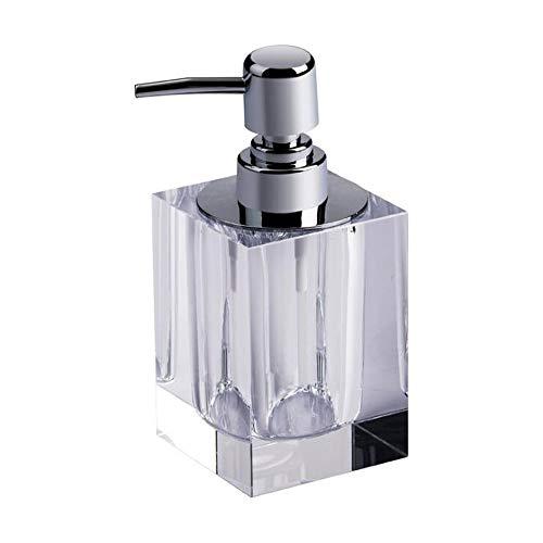 NT Kristallglas Seifenspender-Qualitäts-Quadrat Lotion-Flasche Küche Bad Shampoo Pumpe Aufsatz- Lotionspender 165ml (Color : Clear, Size : 165ml)