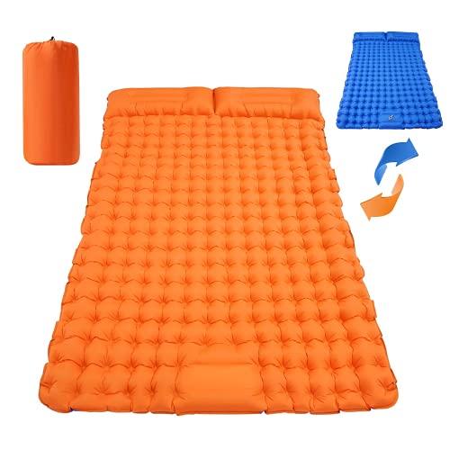 Searching Roads Colchoneta de dormir doble para camping, autoinflable, ultraligera, impermeable, con 2 almohadas, colchón de aire ligero, para mochileros, senderismo, camping, viajes