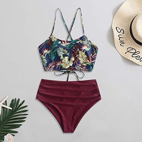 GPQHSM Bikini Y 35Two Pieza Bikinis Atractivo bikiní de Las Mujeres Relleno y Estampado del Traje de baño de baño Traje de baño Ropa de Playa Maillot De Baño Femme Бикини (Color : Wine, Size : M)