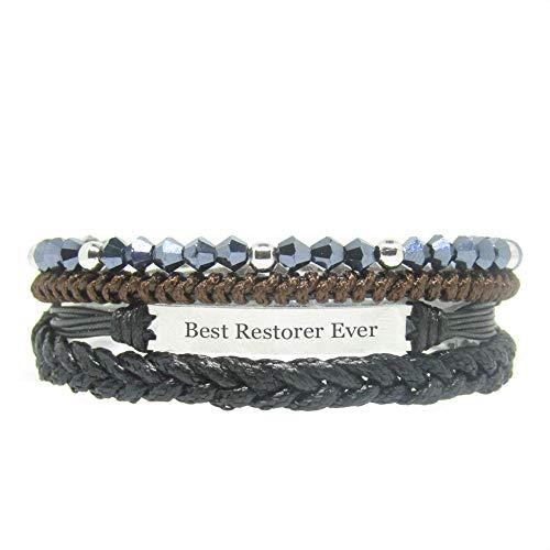 Miiras Job Handmade Bracelet for Women - Best Restorer Ever - Black 6 - Made of Braided Rope and Stainless Steel - Gift for Restorer