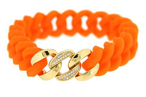 Kettenworld - Bracciale in silicone arancione con catena a maglia barbazzale con tre maglie a maglia barbazzale in argento Sterling 925 rodiato lucido, zirconi bianchi