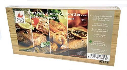 """Masterpiece """"Taste Pack"""" – 4 Aroma Grillbretter aus Ahorn-, Buchen-, Kirsch- und Zedernholz, Grillplanke Premium Qualität, Set á 4 Stk. Maße: 145 x 295 mm, BBQ Räucherbretter inkl. Gebrauchsanweisung."""