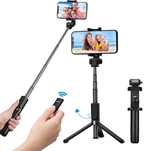 Mpow Bluetooth Selfie Stick Stativ, all in 1 Stativ Selfie Stab Stange mit Bluetooth Fernsteuerung und Abnehmbares 360°Rotation für iPhone 11/XS Max X 8 7 6, P30/P20/P10, Galaxy S10 S10+ S9 S8, usw.