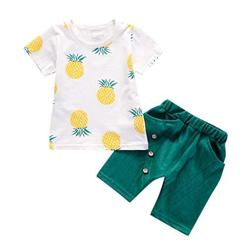 Zweiteiliges Set für Kleinkinder,Kinder Kostüm Baby Kinder Jungen Kurzarm Ananas Print T-Shirt Top + Einfarbig Shorts Kurze Casual Outfit Set Ostergeschenk Festliche Kleider 18M-5Y(Grün,80)