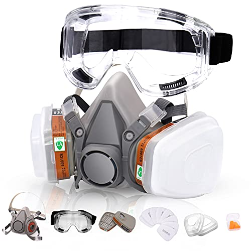 Reusable Respirators Half Facepiece Cover - ANUNU Chemical Respirator with Filters/Goggle Against Dust Organic Gas Vapors for Epoxy Resin Welding Woodworking