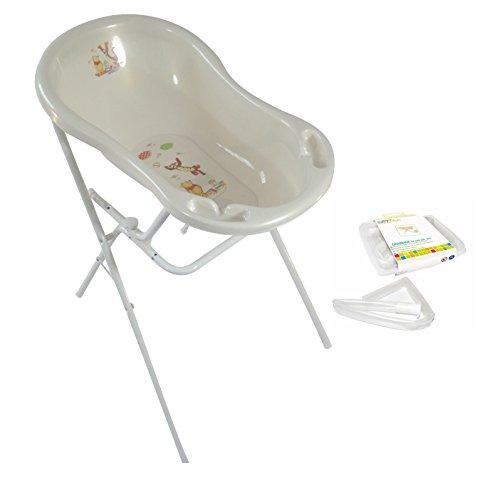 Baignoire pour bébé 84 cm Disney Winnie l'ourson blanc nacré + support de baignoire + tuyau d'écoulement