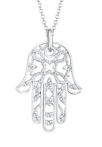 Elli PREMIUM Halskette Damen Hamsa Hand mit Kristalle in 925 Sterling Silber
