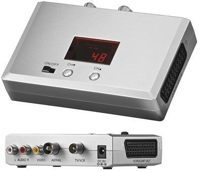 Video Wandler inkl. 1,5 Meter Antennenkabel, Input: 3 Cinch-Buchse 1 Scart-Buchse 1 75Ohm Koax-Stecker, Output: 1 75Ohm Koax-Buchse, Grau