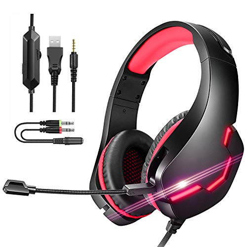 Pmallcity Gaming Headset for PC, 3D Stereo Surround Sound Gaming Headphones with Noise Canceling Mic and LED Light, PS4 Headset for Box XOne, Mac, Laptop (Red)