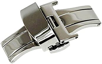 RECHERE Stainless Steel Push Button Butterfly Deployment Clasp for Leather Watch Band Strap Silver(22mm)