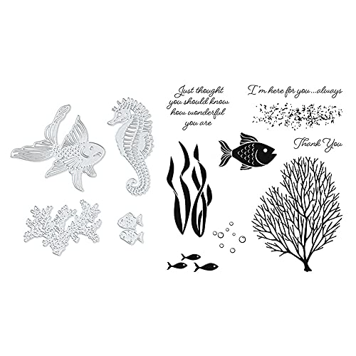 Metall Stanzschablone Schablonen DIY Cutting Dies Scrapbooking mit transparent Siegel Stempelset Prägeschablone Kartenherstellung Fotoalbum Grußkarte Deko (Ozean)