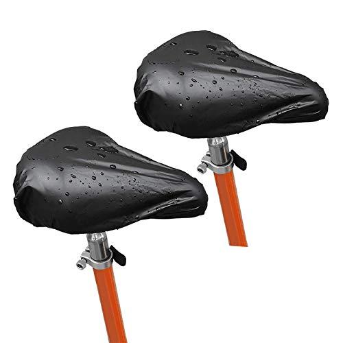 Waterproof Bike Saddle Cover, Bicycle Seat Rain Cover with Elastic Band, 2Packs Black Bike Seat Cover (Black, Large)