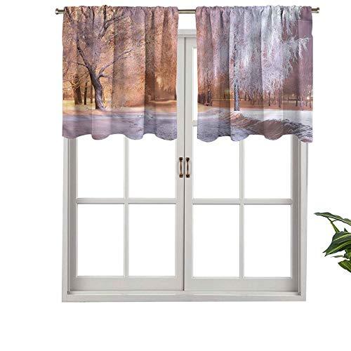 Hiiiman - Juego de cortinas para ventana, diseño de árboles congelados, 137,2 x 45,7 cm para ventana de cocina