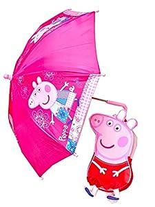 Trade Mark Collections Ltd - Mochila para Peppa Pig 3D estilo a prueba de salpicaduras y paraguas fácil de limpiar para niños de regreso a la escuela y kit de mochila