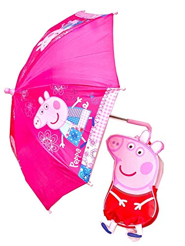 Trade Mark Collections Ltd for Peppa Pig 3D Style Splashproof Backpack and Easy Clean Umbrella Set Children's Back To School Bag and Rucksack Kit