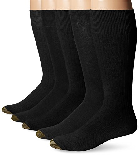 Gold Toe Men's Texture Assorted Crew 5 Pack, Black/Charcoal, Sock Size: 10-13/ Shoe Size:6-12.5