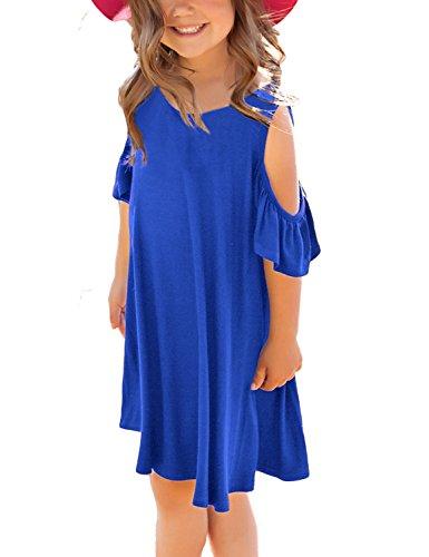 GRAPENT Mädchen kalte schulter gekräuselte kurze hülsen-beiläufiges lose tunika-hemd-kleid XX-Groß 12-13 Jahre blau