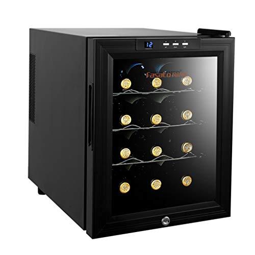 Refroidisseur de vin thermoélectrique de 12 bouteilles - Refroidisseur de vin rouge et blanc - Cellier à vin de comptoir avec voyant DEL à puce pour thermostat intelligent - Sécurité enfants