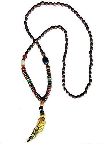 Gebetskette Buddhismus | Mala Kette Meditation Nepal | Holzkette Buddha Halskette | Hand Made | Gold Elephant