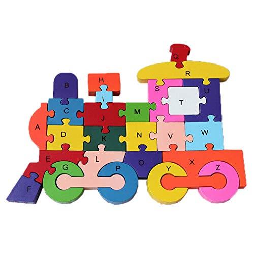 Bigood Jouet Bébé Enfant Puzzle en Bois Alphabet Chiffre Préscolaire Réveil Train Forme