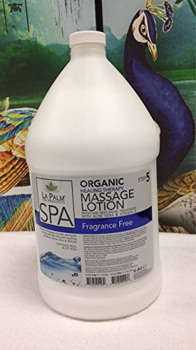 Best Buy! LA PALM - Organic Massage Lotion (Fragrance Free) 1 Gallon - Healing Therapy