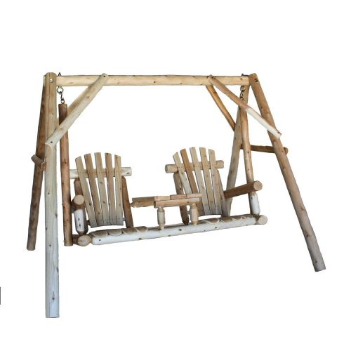 Lakeland Mills CFU19 5 Foot Cedar Log Tete-A-Tete Swing - Natural