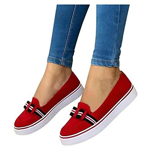 Zapatos de mocasín para mujer, mocasines planos de punta redonda, estilo británico para mujer, zapatos casuales a la moda para damas, zapatos de tela, rojo, 42 EU
