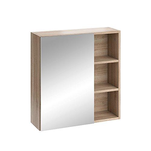 Vicco Badmöbel Set SENYO Eiche-Sonoma Weiß Spiegel Waschtisch Unterschrank Badschrank (Spiegelschrank)