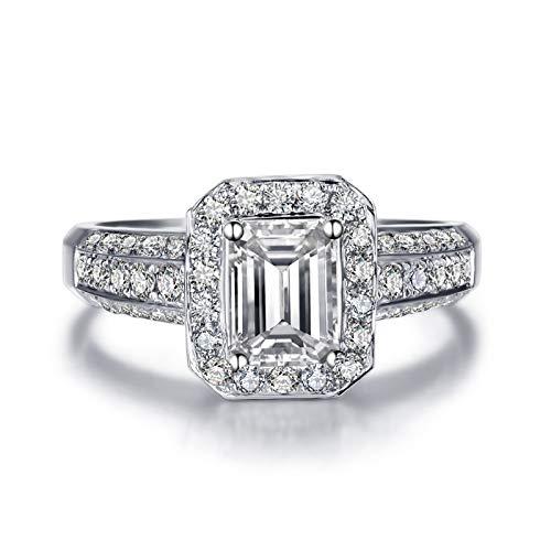 KnSam 18K Oro Blanco Anillo, Anillo de Confianza Cuadrado, Diamante D-E, Color Plata, Diamante Principal 1ct - Talla 18,5