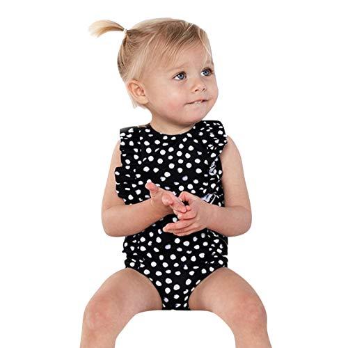 Julhold Conjunto de traje de baño de una pieza para bebé niña con volantes y lunares