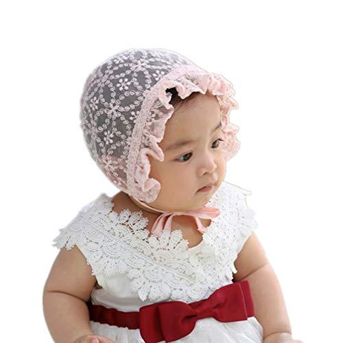 PRETYZOOM Bébé Bonnet Dentelle Réglable Bambins Chapeau de Protection Solaire Accessoires Photo Faveurs pour Bébé Filles Garçons (Rose)