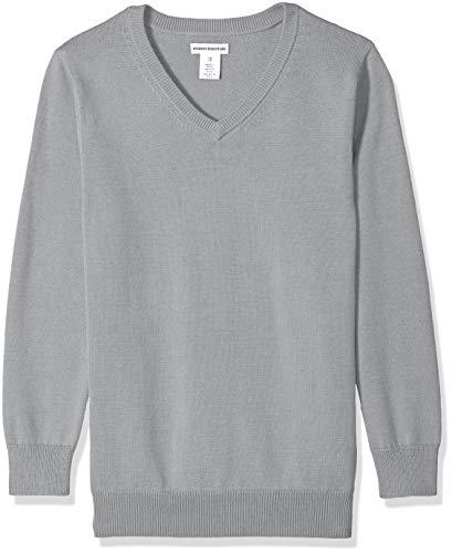 Amazon Essentials Boys Uniform V-Neck Sweater Pullover-Sweaters, Gris Claro Jaspeado, XL