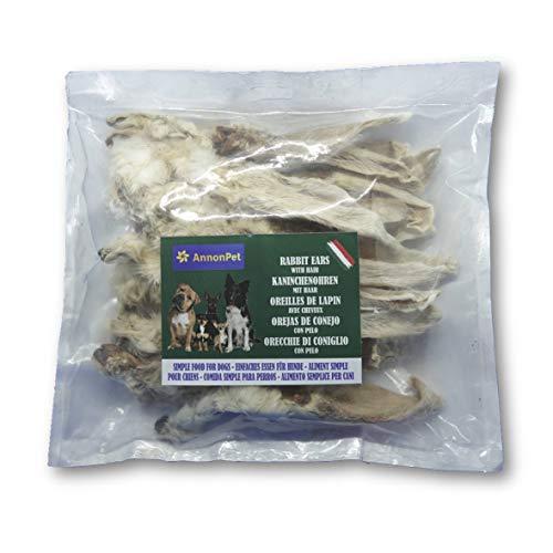 Annonpet 250 Grammi (22 Pezzi) di Orecchie di Coniglio con Pelo a Basso Contenuto di Grassi. Spuntino da Masticare per Cani. Purificante intestinale, Ideale per Dieta Barf. Made in Italy.