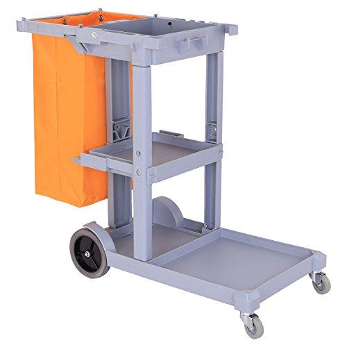 Preisvergleich Produktbild HOMCOM Putzwagen Reinigungswagen Systemwagen Fahrwagen mit Abfallsack 3 Ablagen Grau