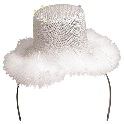 Folat Chapeau à Paillettes Diadème Blanc avec Fourrure (Taille Unique, Argent)