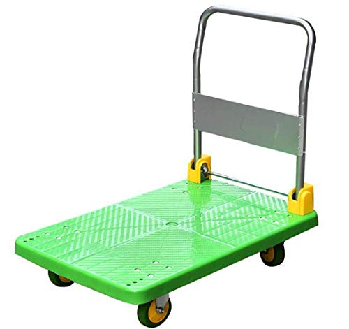 Steel Platform Truck Silent Rubber Wheel Foldable Dolly With 4 Rollers Max Load 600kg For Factory Warehouse Grocery Store (Color: Green Size: 50 * 70cm)