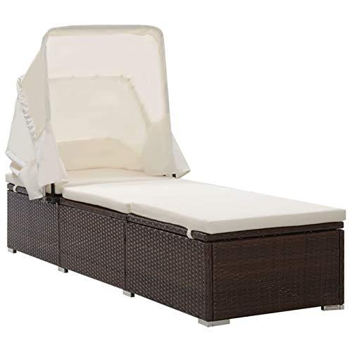 Festnight Sonnenliege Gartenliege Rattanliege Relaxliege Strandliege Liegestuhl mit Sonnenschutz und Auflagen Poly Rattan Braun