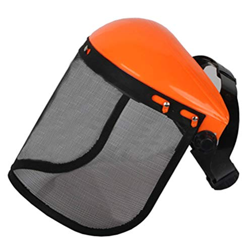 Akemaio Casco de Seguridad de Sombrero con la Cara de Malla Completa Visera para el Registro de Desbrozadora de Protección Forestal de Malla Segadora Casco
