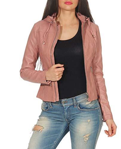 Malito Damen Jacke   Kunstleder Jacke   lässige Jacke mit Kapuze   Jacke mit Zipper - Faux Leather 5175 (rosa, L)