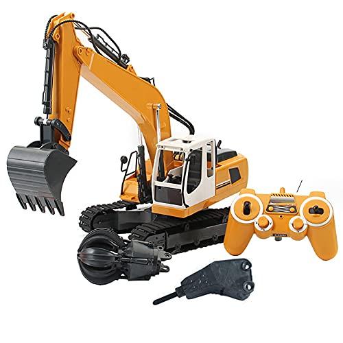 LYXCM del Metal del excavador de RC, Escala del 1:10 del excavador teledirigido Grande 3 en 1   Camión de construcción Vehículos Tractores de 2,4 GHz con Luces y Sonidos