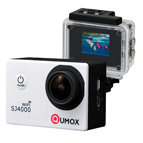QUMOX WiFi Actioncam SJ4000 Action Sport Kamera Camera Waterproof Full HD 1080p Video Helmkamera Weiß mit Verbesserten Batterien und Zubehör Kits und Wasserdichtes Gehäuse