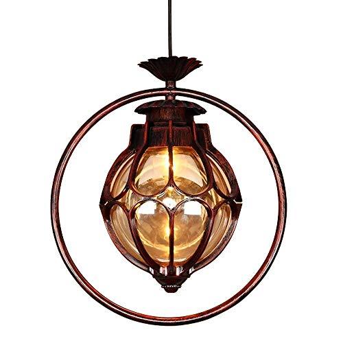 Retro Vintage hanglamp bal ontwerp buiten waterdicht IP44 hanglamp aluminium glas buitenverlichting veranda tuin paviljoen druif rek baldakijn terras plafond verlichting, roodbruin ?25 * H26 CM