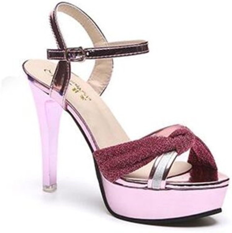 Bon Soir Women's Ankle Strap Closed Round Toe Platform Stiletto High Heel Pump Sandals