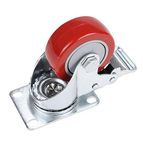 41lEZ1BldML. SL500  - Set de 4 Ruedas Giratorias con Freno, 75mm Diámetro Industriales Ruedas para Muebles, Capacidad de carga máxima 1200 lbs (Rojo) (Rojo y plata)