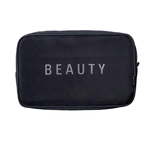 Sac de rangement Voyage Respirant Organisateur cosmétiques Maquillage Portable Pouch Mesh Case 1 Pièces Noir L