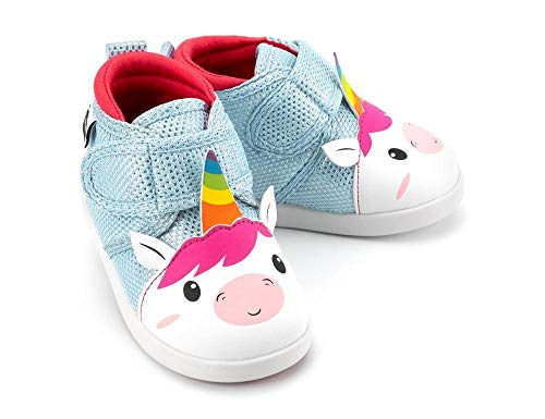 ikiki Unicorn Squeaky Shoes for Toddlers w/Adjustable Squeaker, Light Blue Girl or Boy Shoes (Size 5, Duchess Bubblegum Sparkles)