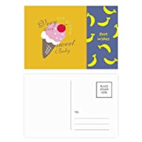 チェリーの甘い赤ちゃんの甘いアイスクリーム バナナのポストカードセットサンクスカード郵送側20個