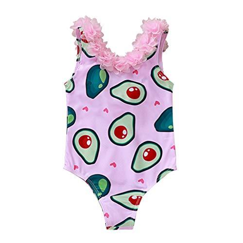 Cover Badeanzüge für Mädchen Baby Badeanzug mit Blumen Kragen Avocado-Drucken Beachwear Badebekleidung Bademode