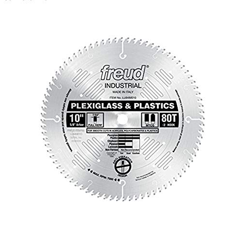 Freud 10 In 80 Tooth Plexiglass&Plastic Cutting Saw Blade 5/8 In Arbor LU94M010